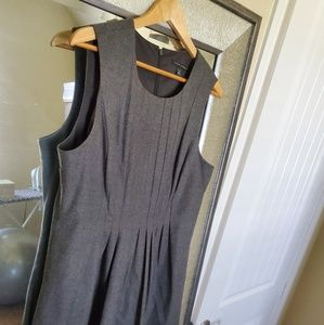 Gray Pleated Banana Republic Stretch Dress Pockets